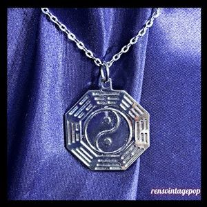 Yin & Yang Silver tone Octagon Necklace
